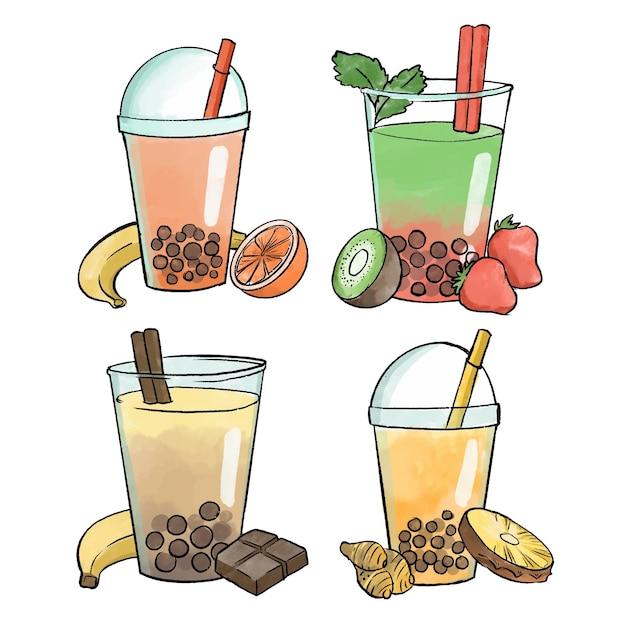 Ручной обращается стиль пузырьковый чай со вкусом Бесплатные векторы