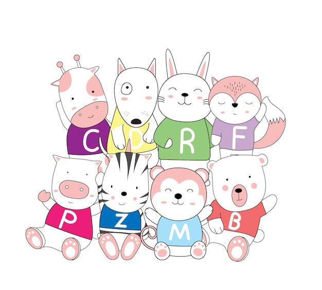 Hand drawn style cartoon sketch the cute baby animal Premium Vector