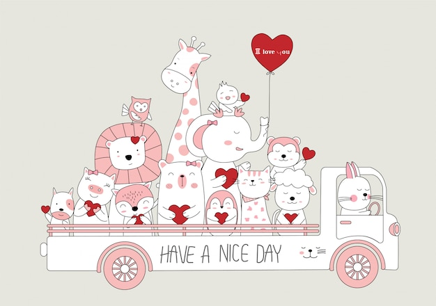 Hand drawn style. cartoon sketch the cute baby animals with car Premium Vector