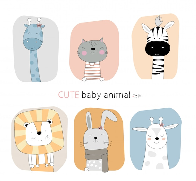 Hand drawn style. cartoon sketch the cute posture baby animal with frame color background Premium Vector