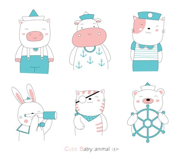 手描きスタイル。漫画はセーラー服を着てかわいい姿勢の赤ちゃん動物をスケッチします Premiumベクター