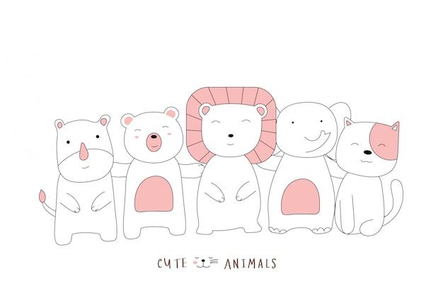 손으로 그린 스타일. 귀여운 자세 아기 동물을 스케치하는 만화 프리미엄 벡터