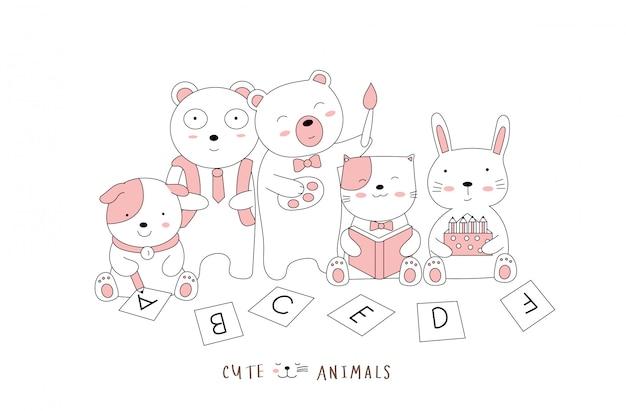 手描きスタイル。漫画スケッチかわいい姿勢の赤ちゃん動物 Premiumベクター