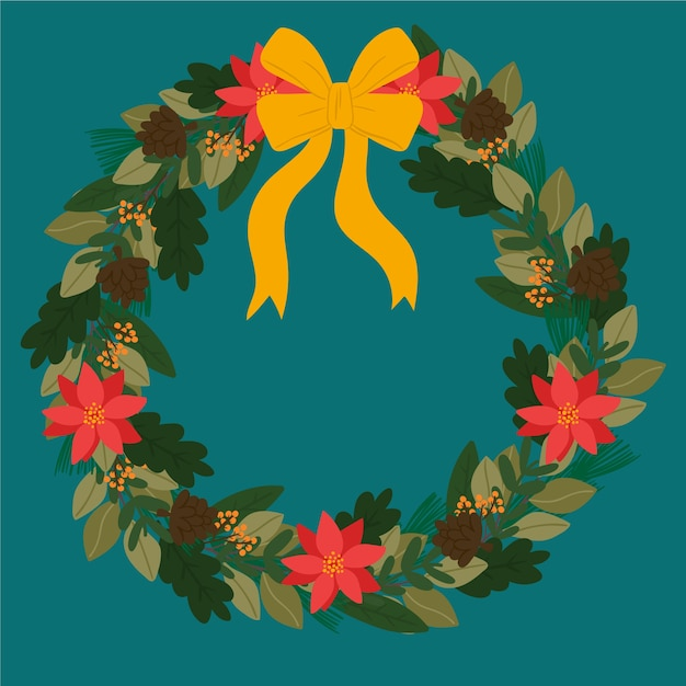 Hand drawn style christmas wreath Free Vector