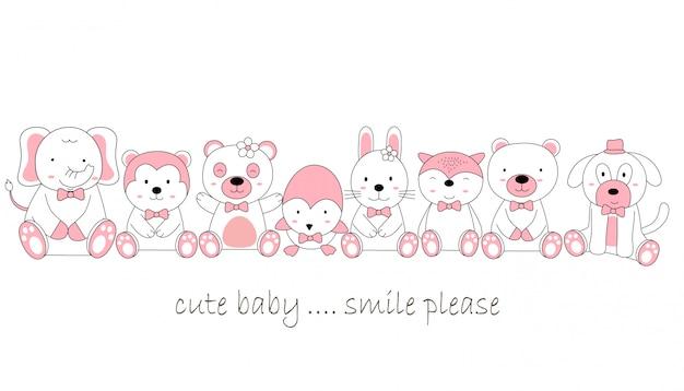Hand drawn style cute animal baby cartoon Premium Vector