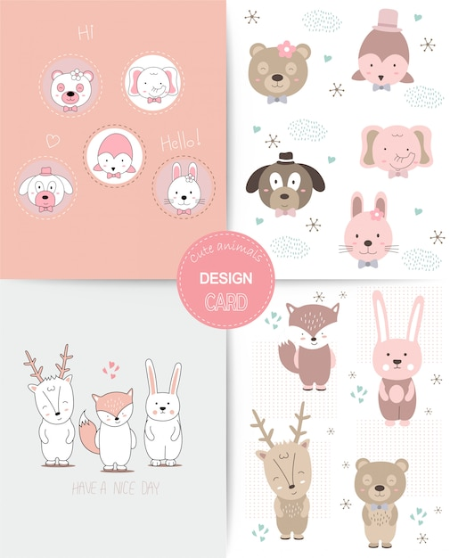 Hand drawn style. cute animal cartoon colorful doodle animals seamless pattern Premium Vector