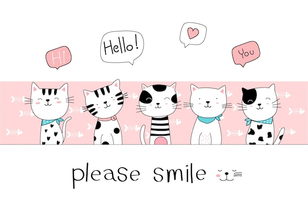 Hand Drawn Style Cute Cat Cartoon Doodle Pastel Wallpaper Premium Vector