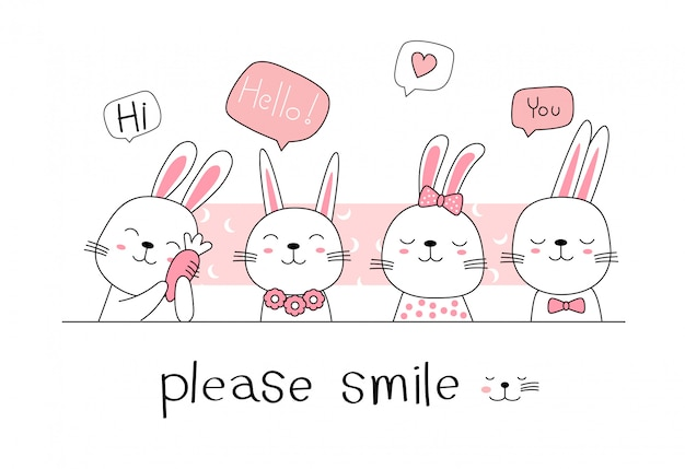 Hand Drawn Style Cute Rabbit Bunny Cartoon Doodle Pastel