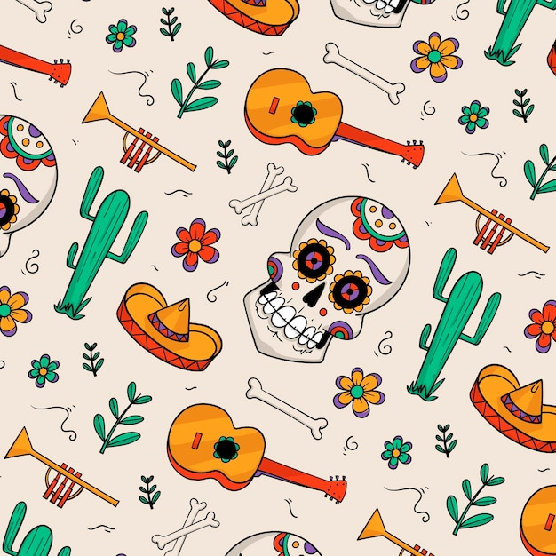 Hand drawn style day of the dead pattern Free Vector