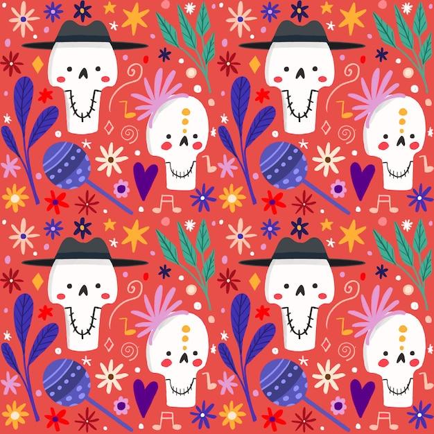 死んだパターンの手描きスタイルの日 無料ベクター