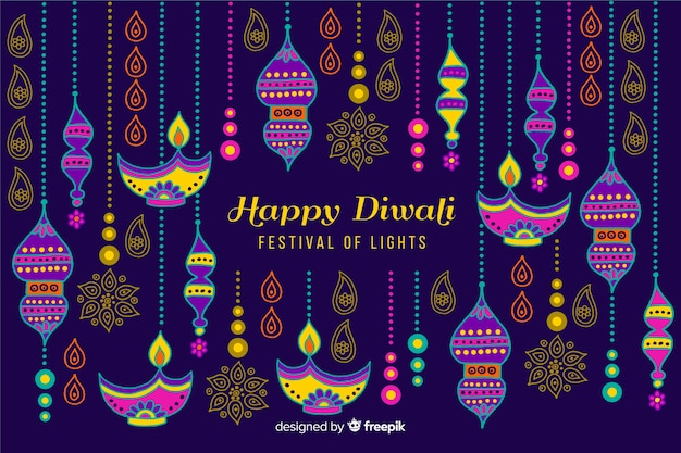 Hand drawn style diwali background Free Vector