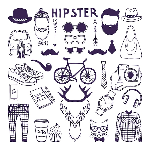 Hand drawn style doodle set of hipster elements. vector illustrations set Premium Vector