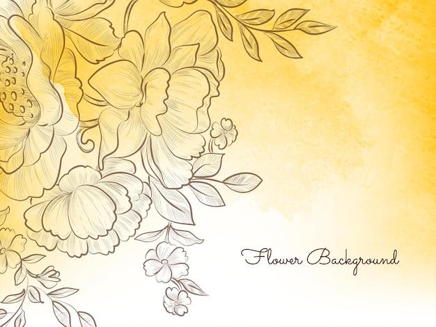 Vettore decorativo pastello giallo del fondo del fiore disegnato a mano di stile Vettore gratuito