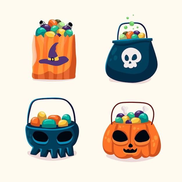 Коллекция сумок на хэллоуин в стиле рисованной Бесплатные векторы