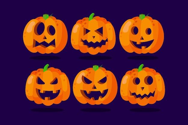 Ручной обращается стиль хэллоуин тыква набор Бесплатные векторы