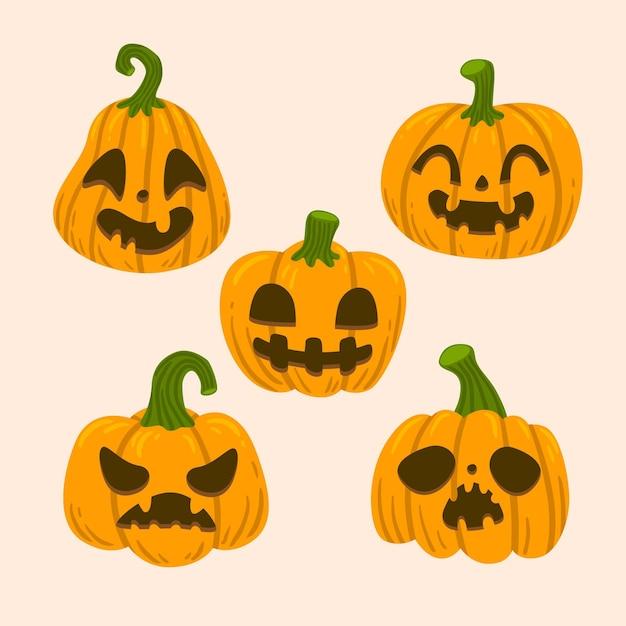 Ручной обращается стиль хэллоуин тыквы Бесплатные векторы