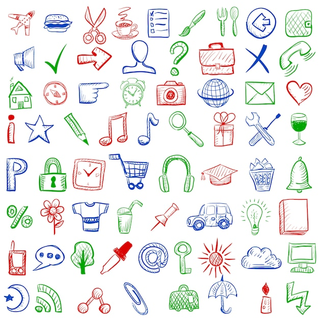 Hand drawn style icons for mobile applications Free Vector