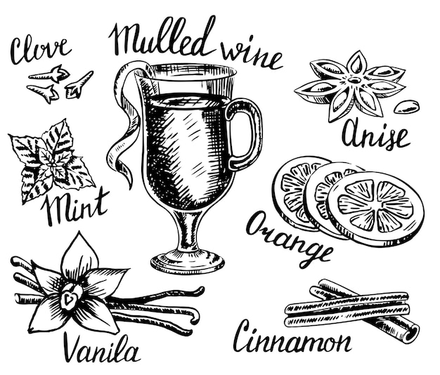 Hand drawn style mulled wine set Premium Vector