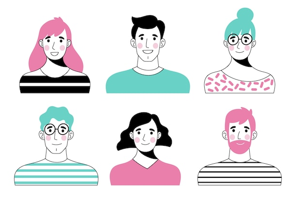 Hand drawn style people avatars set Free Vector