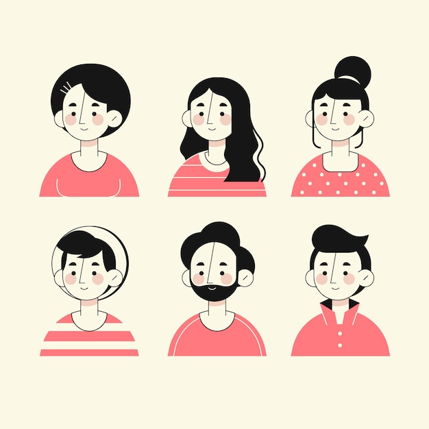 Hand drawn style people avatars Free Vector