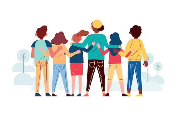 Hand drawn style people hugging together Free Vector