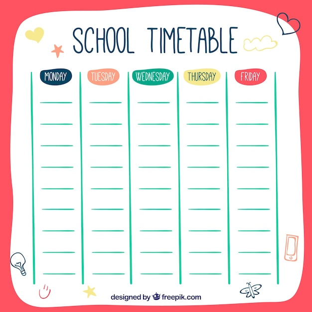 Download Vector Hand drawn style school timetable template – Timetable Template School