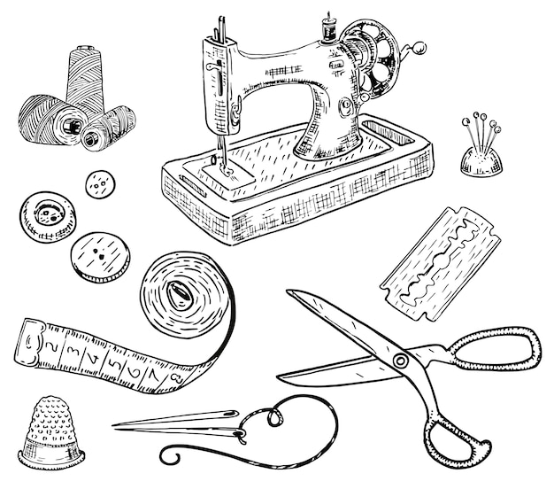 Hand drawn style sewing kit Premium Vector