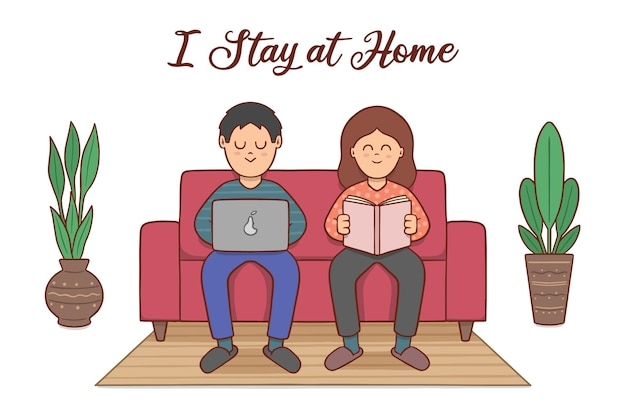 Hand drawn style stay at home concept Free Vector