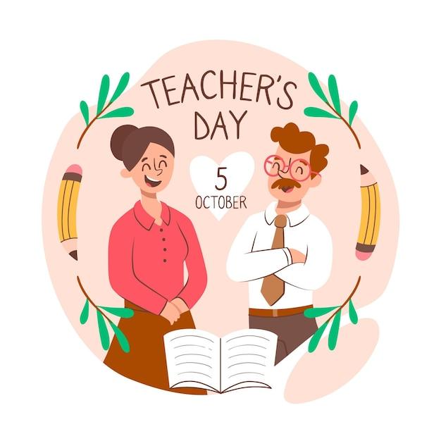 Celebrare il giorno degli insegnanti di stile disegnato a mano Vettore gratuito