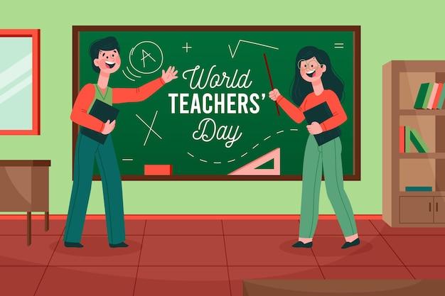 Celebrazione del giorno degli insegnanti di stile disegnato a mano Vettore gratuito