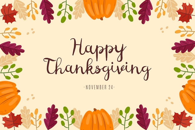 Hand drawn style thanksgiving background Free Vector