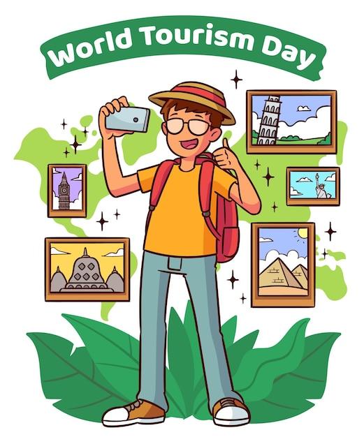 День туризма в стиле рисованной Бесплатные векторы
