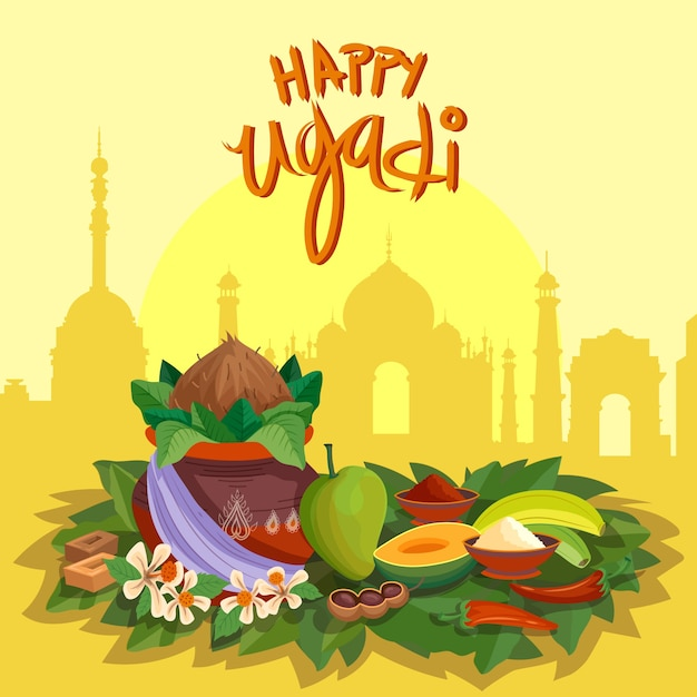 Hand drawn style for ugadi festival Free Vector