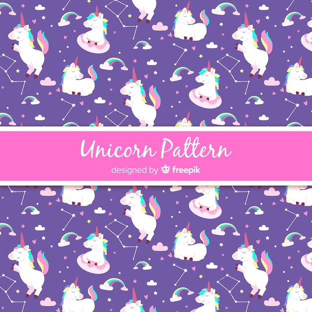 Hand drawn style unicorn pattern Free Vector