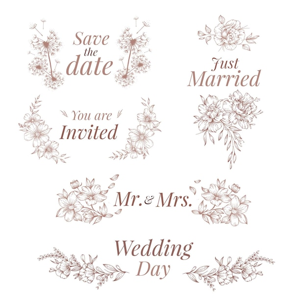 Hand drawn style wedding ornaments Free Vector