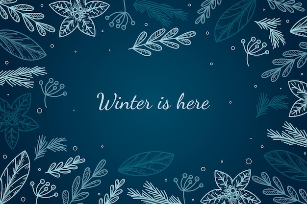 Hand drawn style winter background Premium Vector