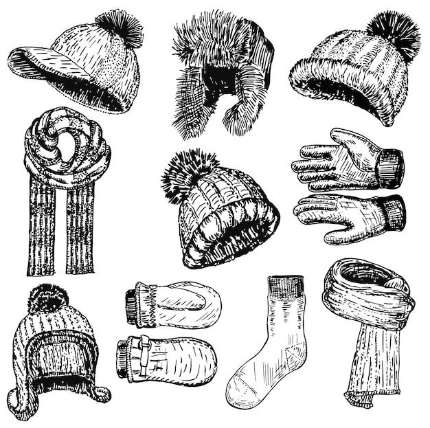Hand drawn style winter warm clothing set Premium Vector