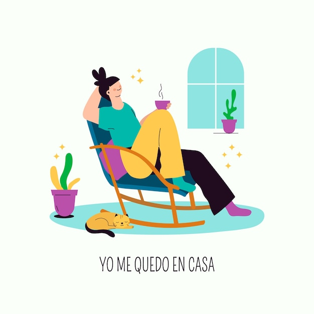 Hand drawn style woman relaxing Free Vector