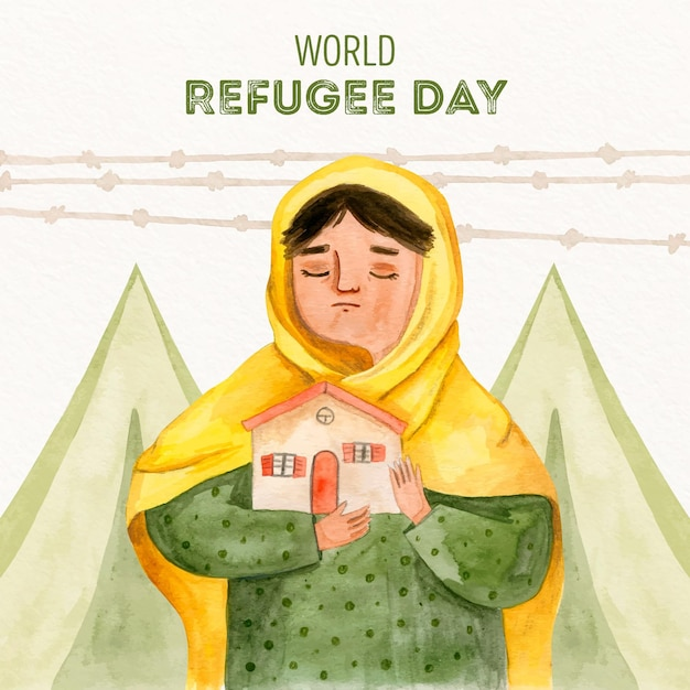 Hand drawn style world refugee day Free Vector