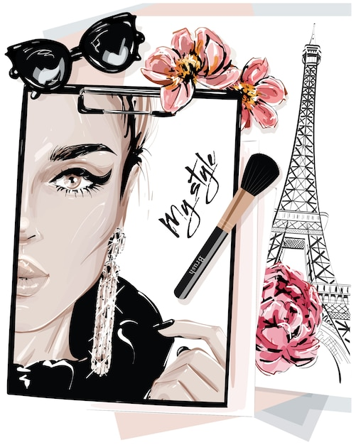 Hand drawn stylish table set with notes, sketches, makeup brush, sunglasses and flowers. Premium Vector
