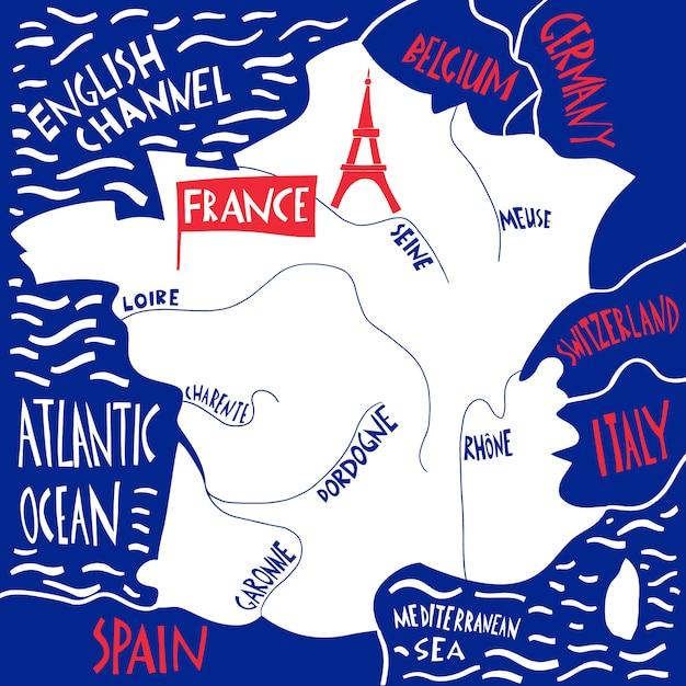 手描きのフランスの様式化された地図。川の名前のイラストを旅行します。 Premiumベクター