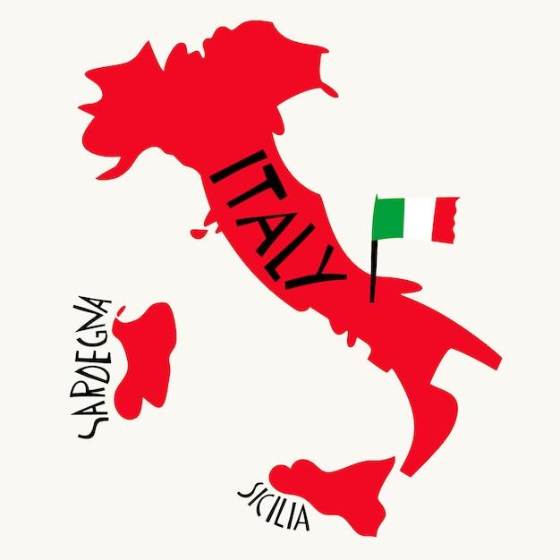 Рисованной стилизованная карта италии. Premium векторы