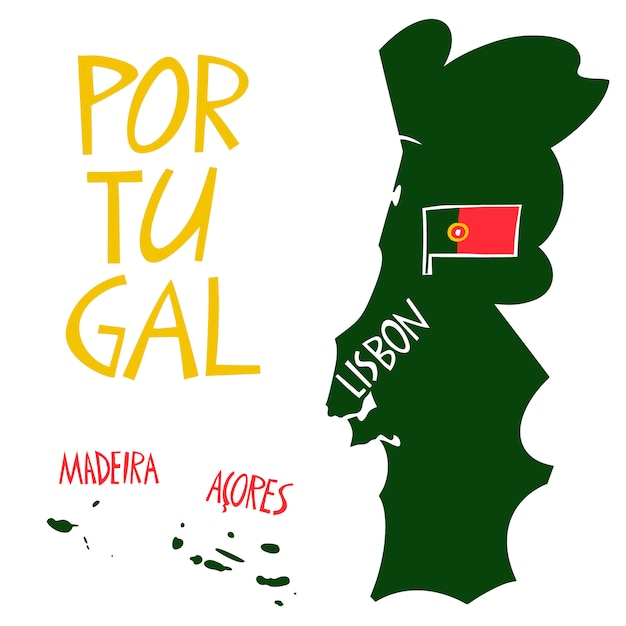 Рисованной стилизованная карта португалии. Premium векторы