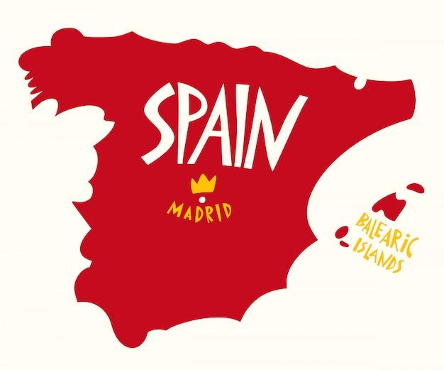 Рисованной стилизованная карта испании. Premium векторы