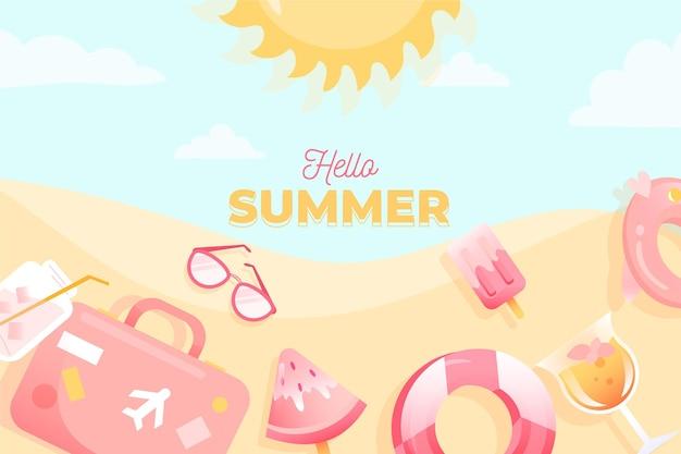 手描きの夏の背景デザイン 無料ベクター