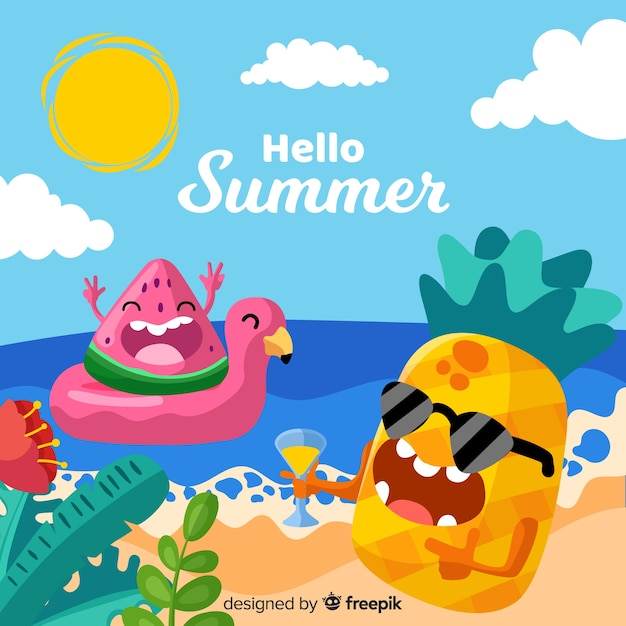 Hand drawn summer background Free Vector