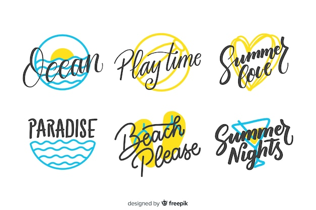 Hand drawn summer badge collectio Free Vector