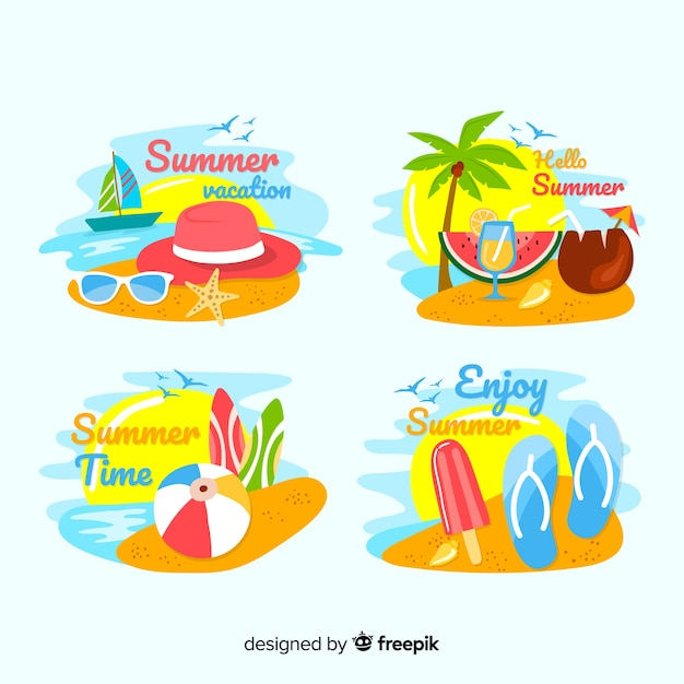 Hand drawn summer badge collection Free Vector