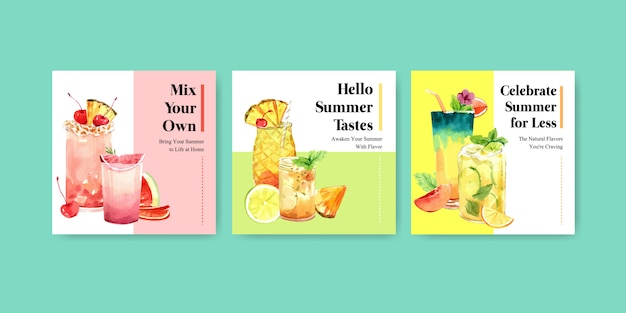 Hand drawn summer banner template set Free Vector