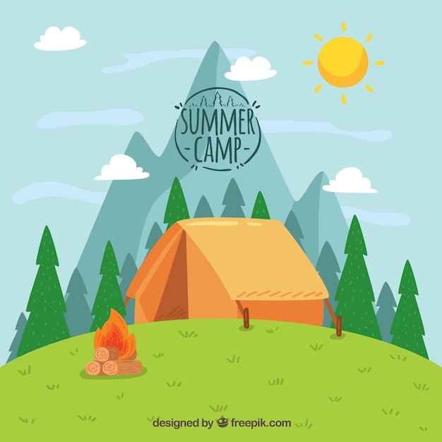Hand drawn summer camp background with tent on hill Free Vector
